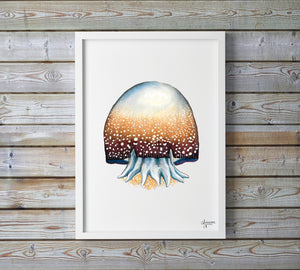 Cannonball Jellyfish, Jellyfish Painting, Jellyfish Print, Ocean Art,  Sea Life Nursery, Marine Life Painting, Watercolor Sea Creatures