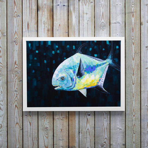 Permit Fish, Permit Painting, Fly Fishing Art, Fish Art, Fishing Art, Fisherman Gift, Ocean Art, Colorful Artwork