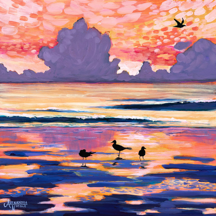 Beach Sunrise Painting, Beach Sunset, Beach Seascape Art, Coastal Art Decor, Beach Landscape, Coastal Landscape