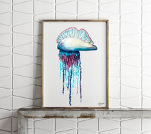 Load image into Gallery viewer, Portuguese Man O War, Jellyfish Painting, Jellyfish Art, Ocean Wall Art,  Sea Life Art