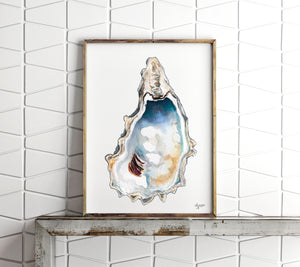 New Oyster Art Print Set of 4 by Alexandra Nicole, Oyster Shell Prints, Discounted Art Print Sets, Breach Inlet Oysters