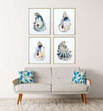 Load image into Gallery viewer, New Oyster Art Print Set of 4 by Alexandra Nicole, Oyster Shell Prints, Discounted Art Print Sets, Breach Inlet Oysters