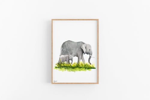 Elephant Nursery Art, Baby Elephant Print, Elephant Art, Elephant Wall Art, Safari Nursery Decor, Animal Wall Art