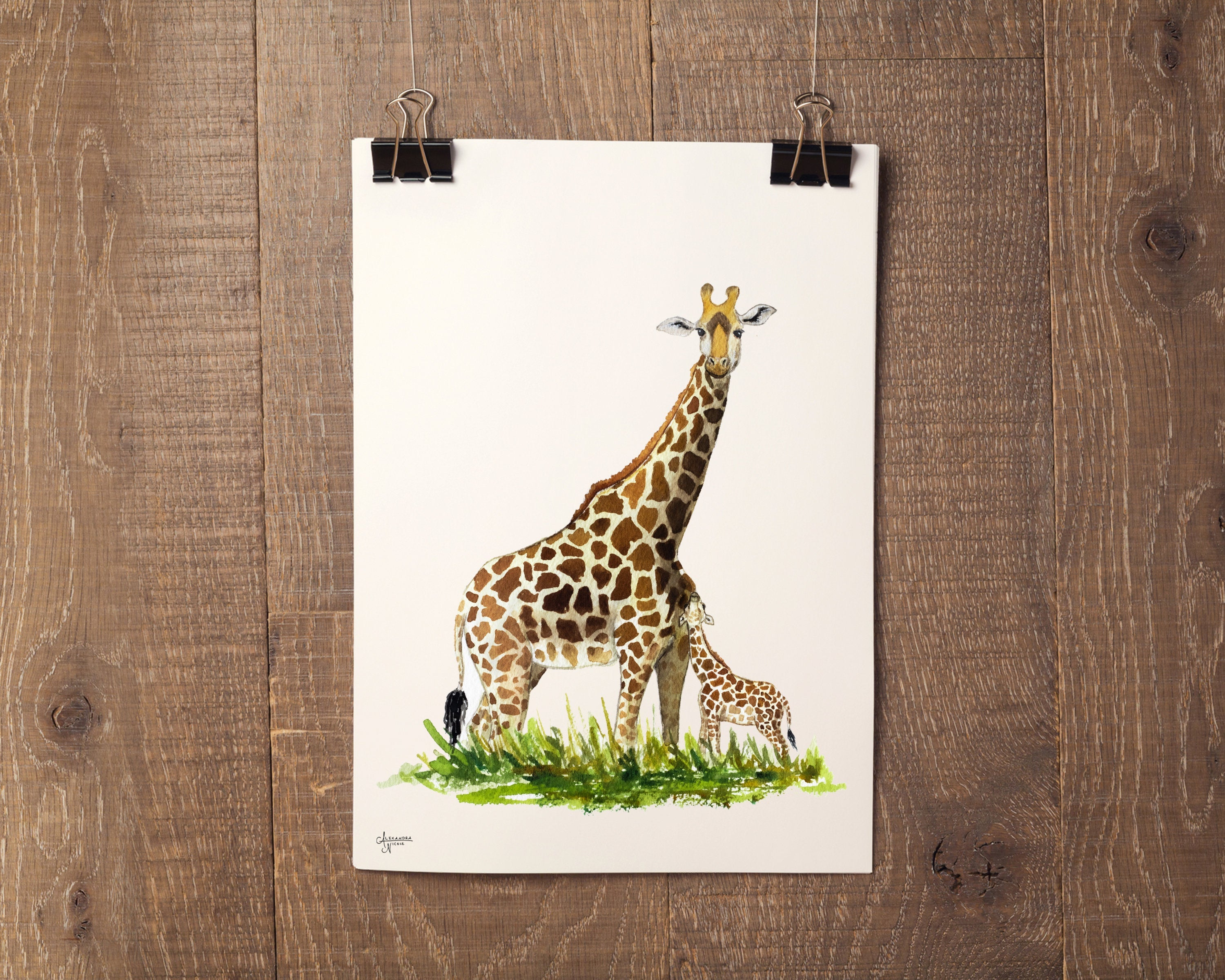 Mother and Baby Giraffe Fine Art Print