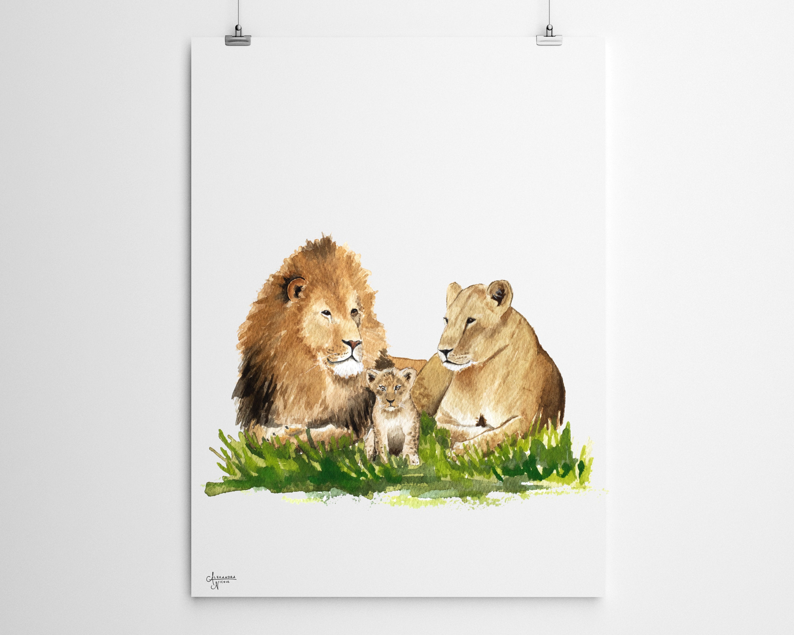Mother and Baby Lion Fine Art Print