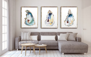 Oyster Shell Art Print Set, Alexandra Nicole Releases New 2020 Oyster Print Set, Discounted Prints, Gallery Wall Art, Beach House Decor