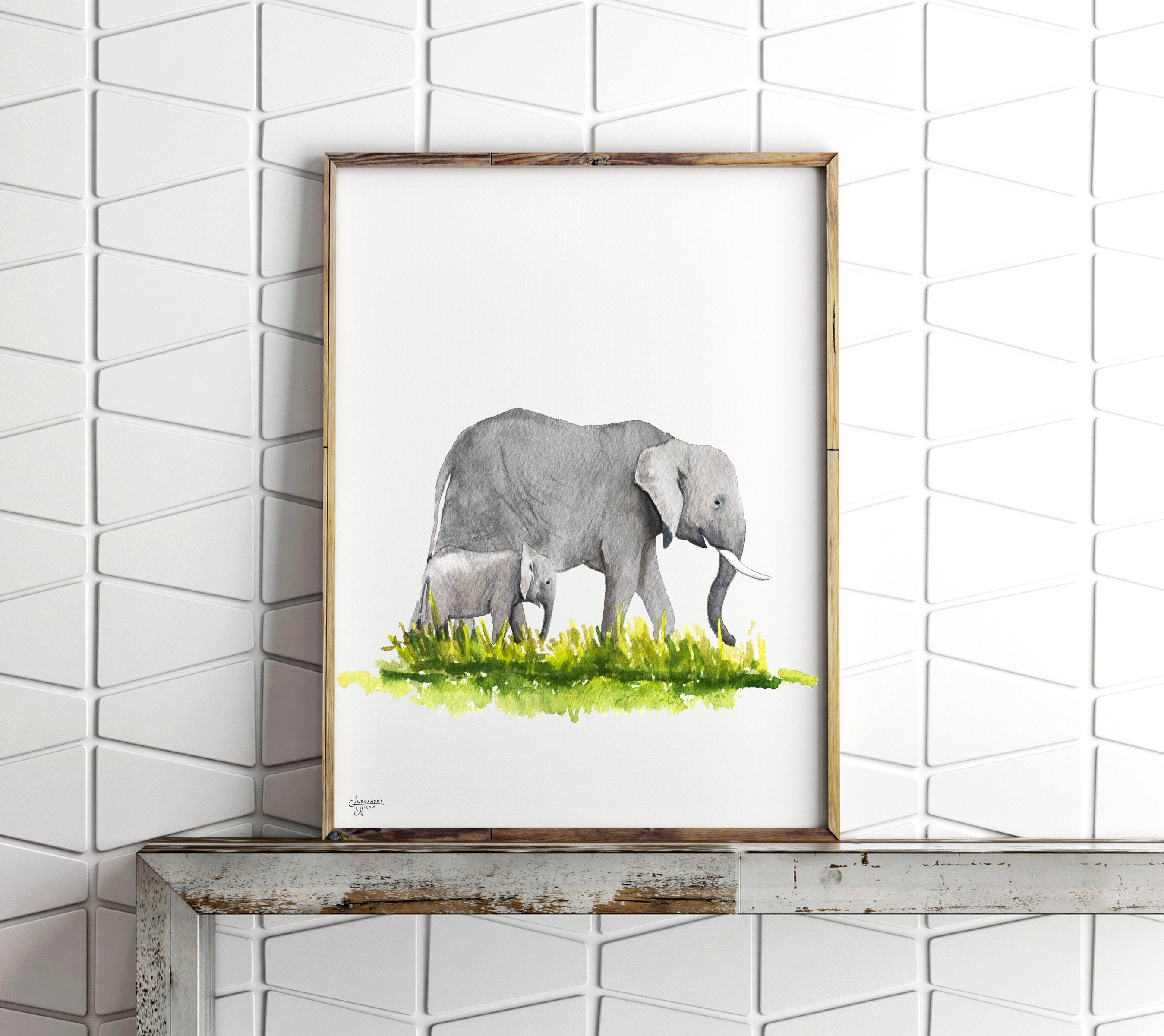 Mother and Baby Elephant Fine Art Print