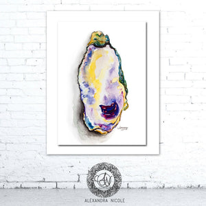 Watercolor Oyster, Oyster Print, Oyster Art, Oyster Shell Art, Shell Print, Coastal Prints, Coastal Art, Oyster Art, Watercolor Oyster Print