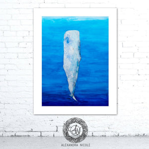 Watercolor Whale Art, Whale Painting, Whale Print, Sperm Whale, Whale Art, Coastal Art Prints, Coastal Decor, Beach Decor, Ocean Prints