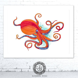 Orange Octopus Watercolor Art Print by Alexandra Nicole