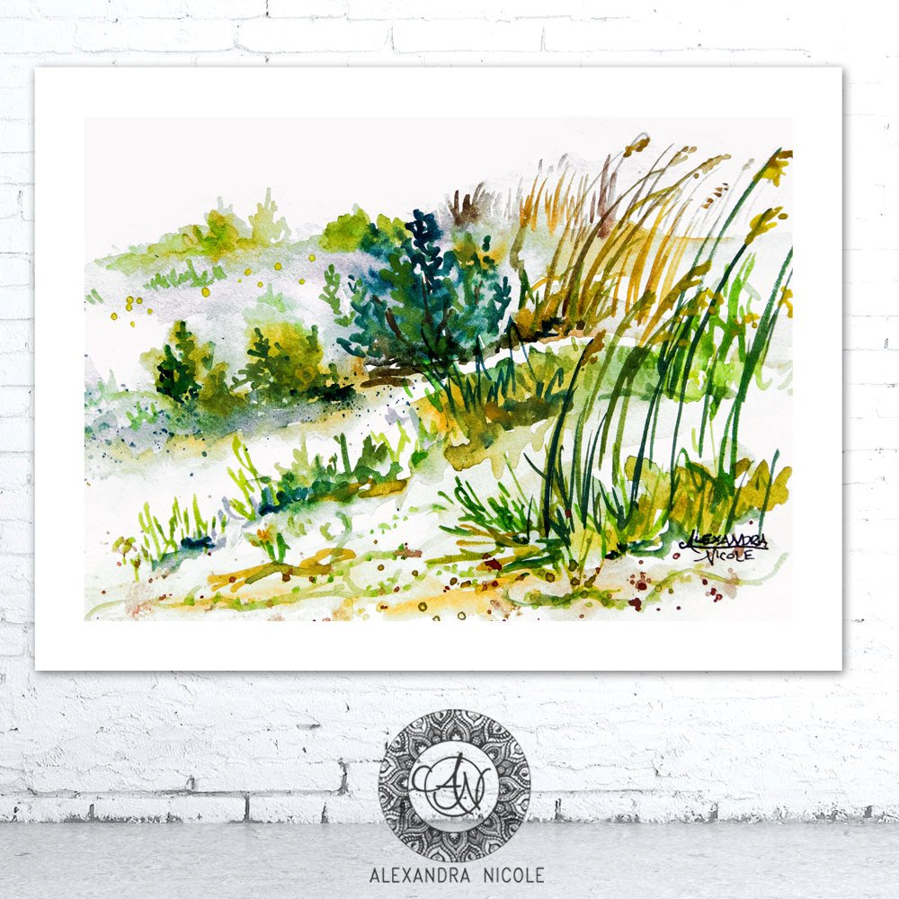 Watercolor Beach Landscape Titled Sea Oats Dune 1