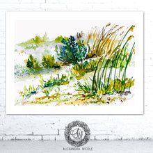 Load image into Gallery viewer, Watercolor Beach Painting Sea Oats Dunes by Alexandra Nicole