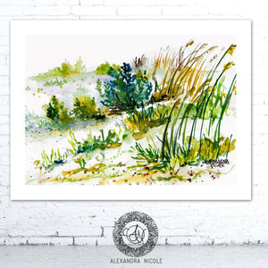 Watercolor Beach Painting Sea Oats Dunes by Alexandra Nicole