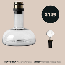 Load image into Gallery viewer, Menu Design Breather Brass and Alessi Bottle Cap Black