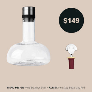 Menu Design Breather Silver and Alessi Bottle Cap Red