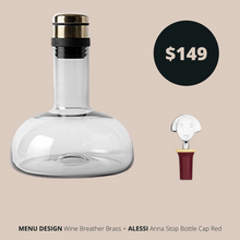 Load image into Gallery viewer, Menu Design Breather Brass and Alessi Bottle Cap Red
