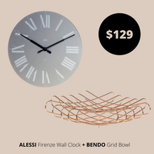 Load image into Gallery viewer, Alessi Wall Clock Grey + Bendo Bowl Copper Bundles Main