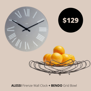 Alessi Wall Clock Grey  + Bendo Bowl Black Bundles Main