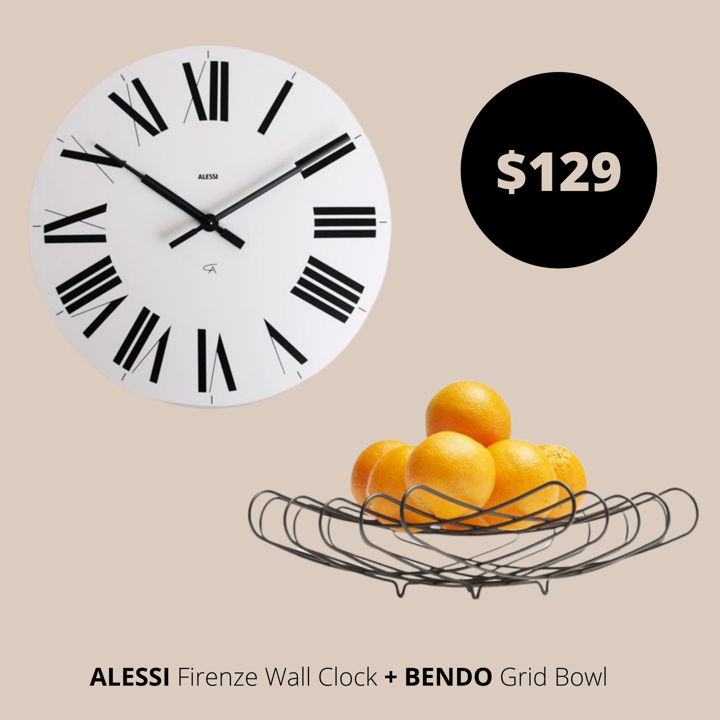 Alessi Wall Clock White + Bendo Bowl Black Bundles Main