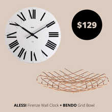 Load image into Gallery viewer, Alessi Wall Clock White  + Bendo Bowl Copper Bundles Main