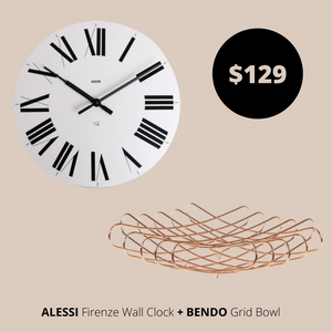 Alessi Wall Clock White  + Bendo Bowl Copper Bundles Main