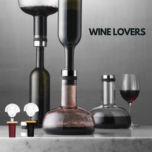 Load image into Gallery viewer, Wine Lovers Menu Design Breather and Alessi Bottle Cap Main