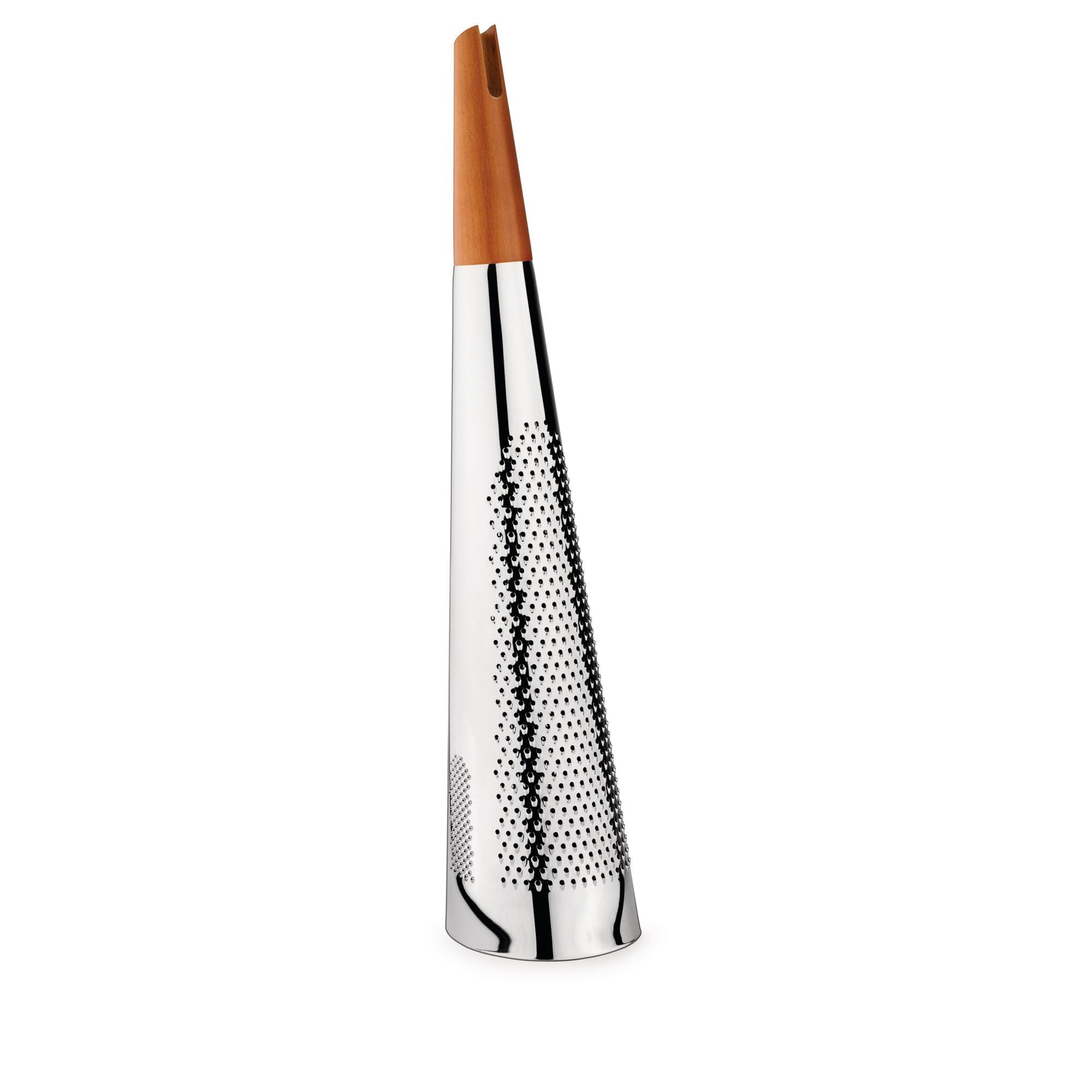 AlessiTodo Giant Cheese And Nutmeg Grater in Steel And Wood Silver