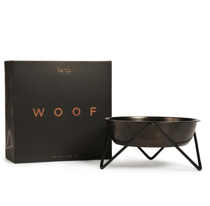 Bendo Woof Pet Dog Bowl Black on Black with Gift Box