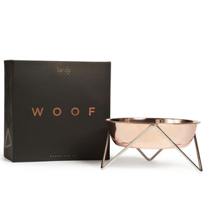 Bendo Woof Dog Bowl Copper on Chrome Packaging