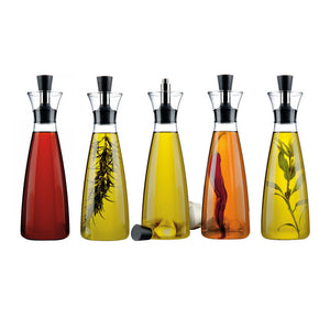 Eva Solo Oil & Vinegar Carafe Bottles with Assortment of Olive Oil and Vinegar and Herbs
