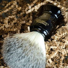 Load image into Gallery viewer, GENTLEMANS HARDWARE SHAVING BRUSH AND HOLDER LIFESTYLE