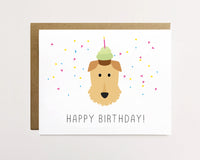 Airedale - Confetti birthday Card
