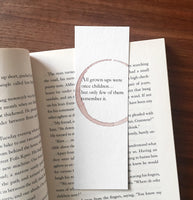 Grownups were once children - Wine stamped bookmark