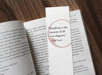 Simplicity - Wine stamped bookmark