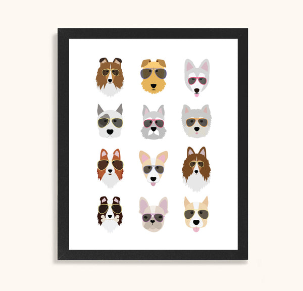 Dogs in Sunglasses - Dog Print