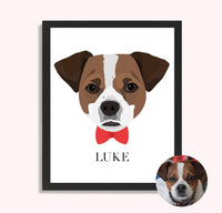 Custom Dog Portrait with Bow Tie