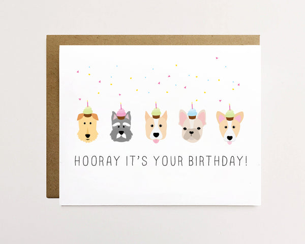 Hooray it's your birthday - Dog birthday Card
