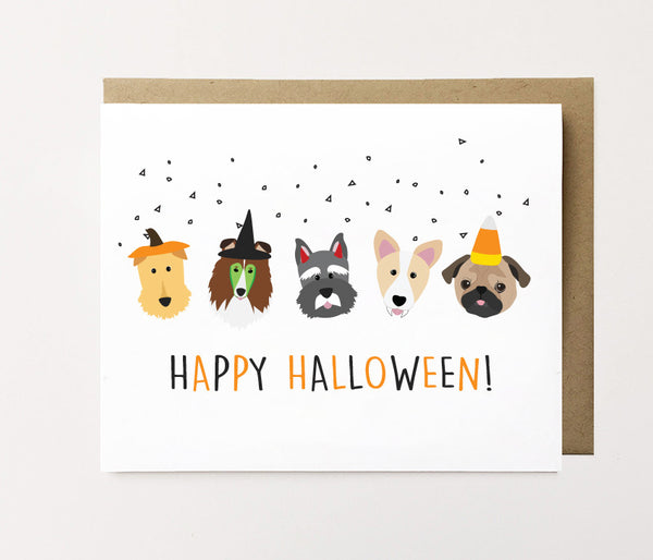Dogs in Costumes - Halloween Card