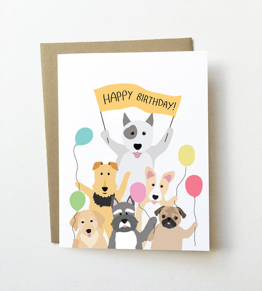 Party balloons - Dog birthday Card