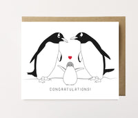 Penguin family - Baby congrats card