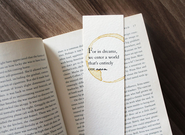 For in dreams - Coffee stamped bookmark