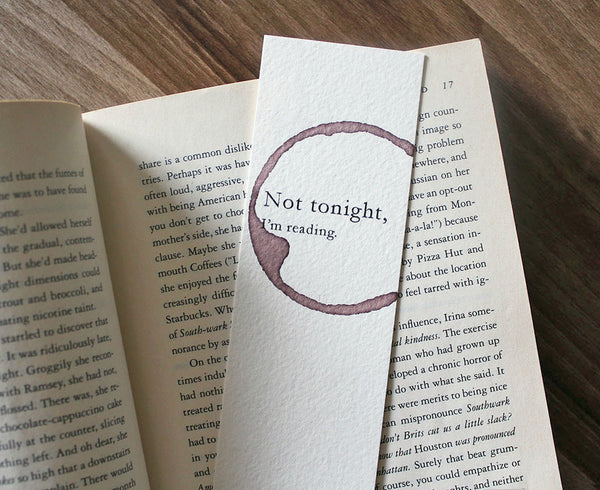 Not tonight - Funny wine stamped bookmark