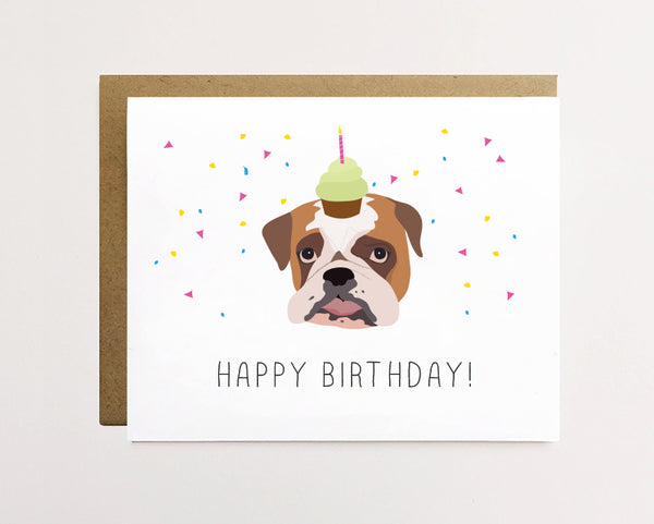 Bulldog - Confetti birthday Card