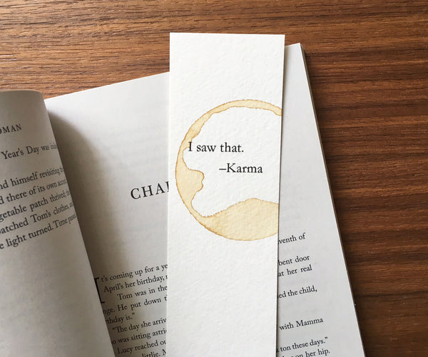Karma - Coffee stamped bookmark