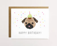 Pug - Confetti birthday Card