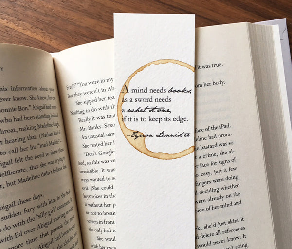 A mind needs books - Coffee stamped bookmark