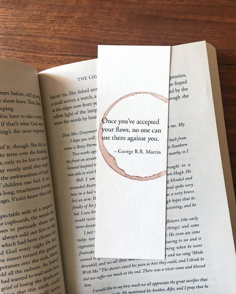 Accept your flaws - Wine stamped bookmark
