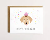 Golden retriever - Confetti birthday Card