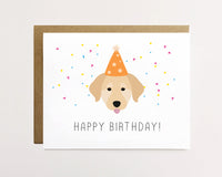 Golden retriever - Birthday Hat Card