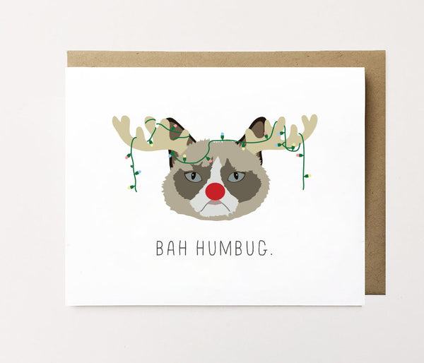 Bah Humbug - Cat Christmas Card